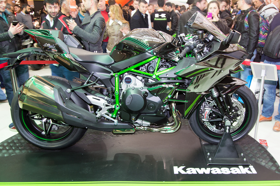 ISTANBUL TURKEY - MARCH 01 2015: Kawasaki Ninja H2 in Eurasia Moto Bike Expo in Istanbul Expo Center