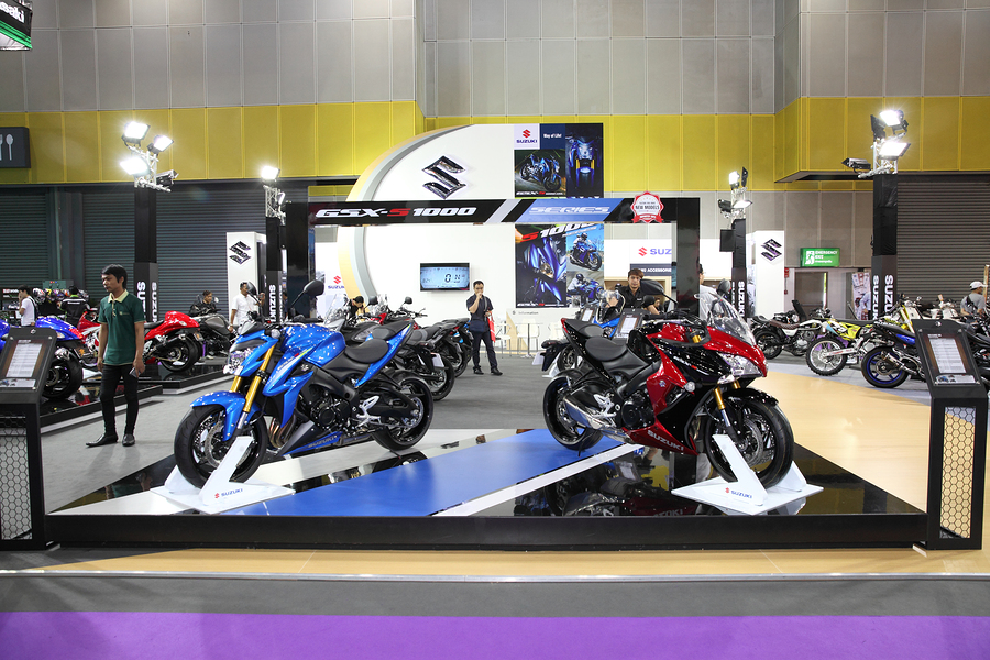 BANGKOK - August 4: Showroom of Suzuki motorcycle at Big Motor sale on August 4 2015 in Bangkok Thailand.