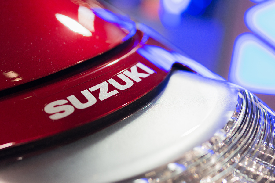Long Beach CA - November 13 2014: Close-up of Suzuki logo motorcycle on display at the International Motorcycle Show